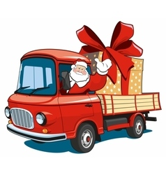 Santa Claus on red truck delivers gifts vector image