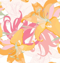 seamless floral design with lily vector image