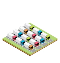 Set of isometric trucks vector image vector image