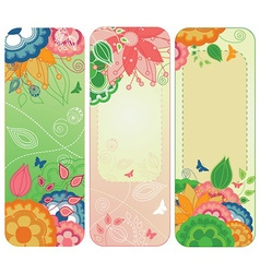 Sweet Floral Banners or Bookmarks vector image