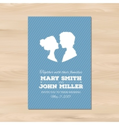 wedding invitation with profile silhouettes vector image