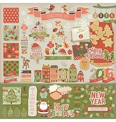 Christmas scrapbook set - decorative elements vector image