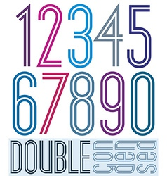 Condensed colorful double numbers on white vector image vector image