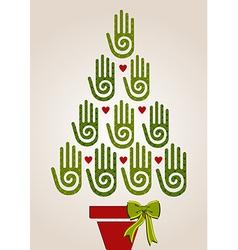 Diversity green hands in Christmas Tree vector image vector image