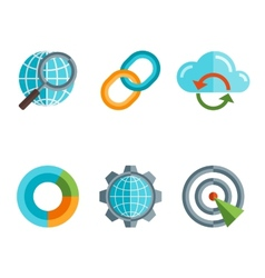 Flat line icons set of website search engine vector image vector image