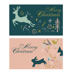 gift cards for christmas with deer and hair vector image vector image