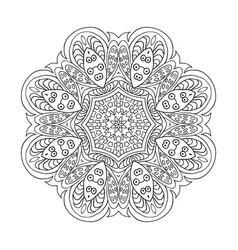 mandala flower pattern doodle drawing round vector image