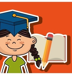 student girl notebook pencil vector image