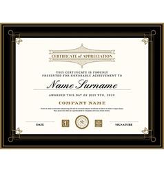Vintage retro art deco frame certificate template vector image vector image