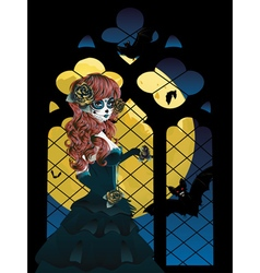 Witch near Gothic Window3 vector image vector image