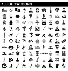 100 show icons set simple style vector