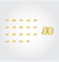 50 years anniversary gold line design set logo vector