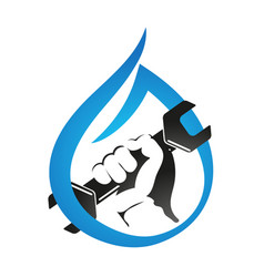 A drop of water and hand with a wrench symbol vector
