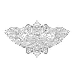 adult coloring book page with decorative wings vector image