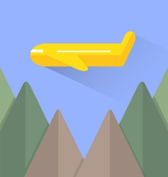 Airplane and mountain vector image