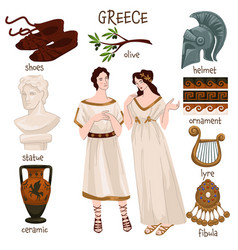 Ancient greece people and personal belonging vector