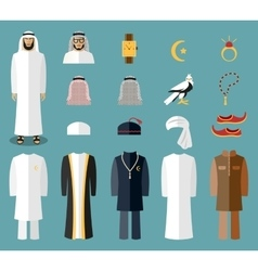 Arab man clothes and accessories vector