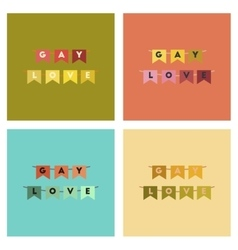 Assembly flat icons gay love garland vector