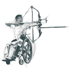 Athletes with physical disabilities - archery vector