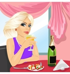 Attractive blonde woman dining at restaurant vector