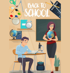 Back to school poster with student and teacher vector