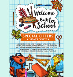 Back to school sale checkered page poster vector