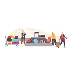 Baggage claim in airport belt tourists male vector