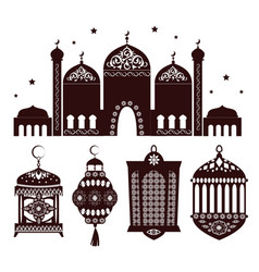 Beautiful decorative building of oriental temple vector