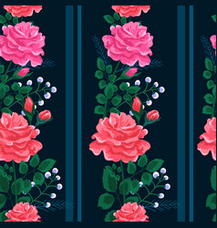 Beautiful seamless pattern with pinkred and vector