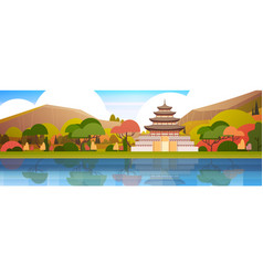 beautiful south korea landscape traditional palace vector image