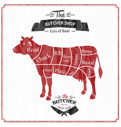 Beef cuts diagram in vintage style vector