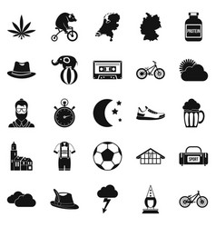 bicycle icons set simple style vector image