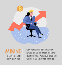 bitcoin concept with flat cartoon character vector image
