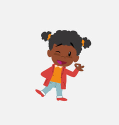 Black girl doing the ok sign with his hand vector