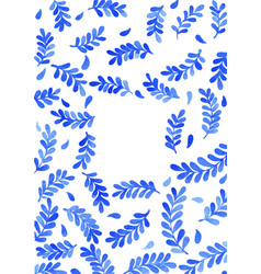 blue fern leaf watercolor hand painting with frame vector image