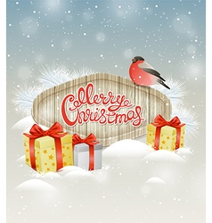 Bullfinch and gifts in snow vector