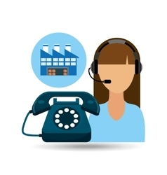 call centre woman working warehouse merchandise vector image