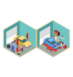 Car service isometric people repair cars with vector