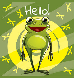 Cartoon frog hello vector