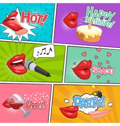 Cartoon Lips Comics Page vector image