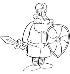 cartoon medieval knight holding a shield and a swo vector image