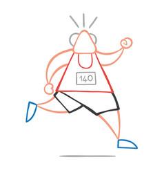 Cartoon old athlete man running vector