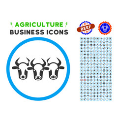 cattle rounded icon with set vector image