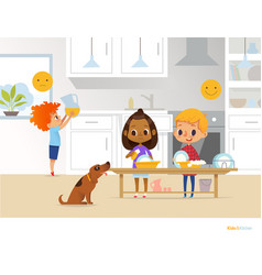 Children doing daily routine activities in kitchen vector