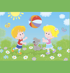 Children playing a colorful ball on a playground vector