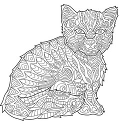 coloring book page with kitten vector image