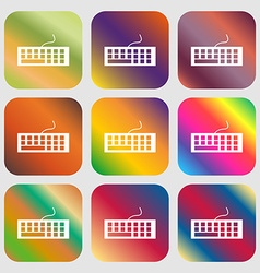 Computer keyboard Icon Nine buttons with bright vector