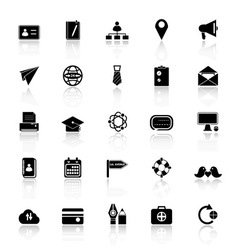 Contact connection icons with reflect on white vector image