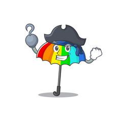 Cool rainbow umbrella in one hand pirate cartoon vector