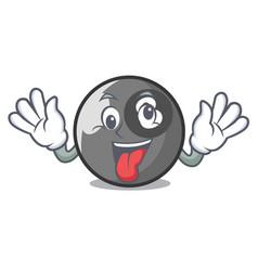 Crazy billiard ball mascot cartoon vector